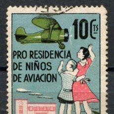 Sellos: GUERRA CIVIL, VIÑETA, PRO RESIDENCIA DE NIÑOS AVIACIÓN, VALOR: 10 CÉNTIMOS. Lote 143526154