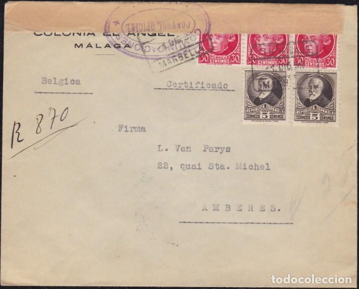 1936. GUERRA CIVIL. CIVIL WAR. MARBELLA A AMBERES. ESPECTACULAR FRANQUEO BICOLOR. (Sellos - España - Guerra Civil - De 1.936 a 1.939 - Cartas)
