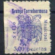 Sellos: GRANJA DE TORREHERMOSA (BADAJOZ). MUN. 3PTAS. Lote 143586998