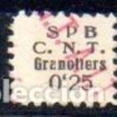Sellos: GRANOLLERS (BARCELONA). EDIFIL Nº9A. 0,25 S.P.B.-CNT. Lote 143592150