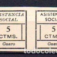 Sellos: GUARO (MÁLAGA). EDIFIL 12S + 13S. TIPO III. EN PAREJA. SIN DENTAR. Lote 143604270
