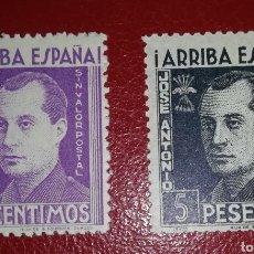 Sellos: ESPAÑA BENEFICENCIA VIÑETA FALANGE JOSE ANTONIO 25 CENTIMOS Y 5 PESETAS SIN VALOR POSTAL. Lote 143680910