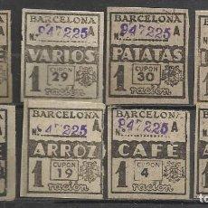 Sellos: Q547Q-VIÑETAS,CUPONES RACIONAMIENTO GUERRA CIVIL BARCELONA.COLECCION.DISTINTOS.BENEFICOS,BENEFICENC. Lote 143730178