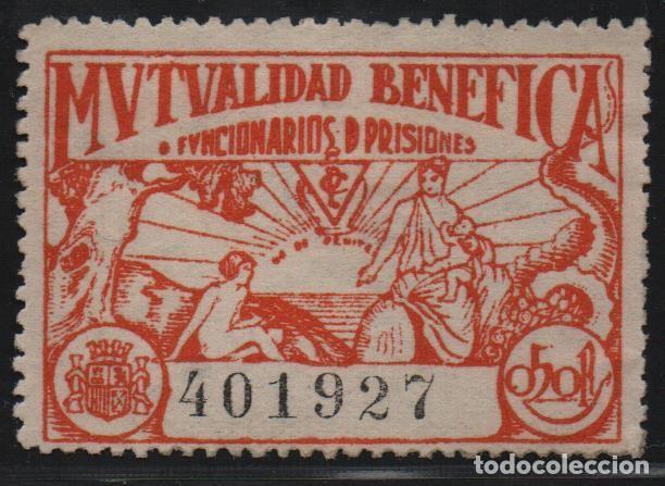 MUTUALIDAD BENEFICA, 50 CTS. FUNCIONARIOS DE PRISIONES, VER FOTO (Sellos - España - Guerra Civil - De 1.936 a 1.939 - Usados)