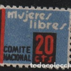 Sellos: MUJERES LIBRES, 20 CTS, COMITE NACIONAL, VER FOTO. Lote 143836522