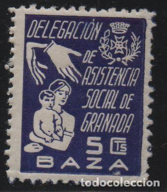 GRANADA, 5 CTS. -DELEG. ASISTENCIA SOCIAL, ALLEPUZ Nº 1, VER FOTO (Sellos - España - Guerra Civil - De 1.936 a 1.939 - Usados)