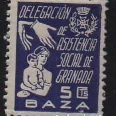 Sellos: GRANADA, 5 CTS. -DELEG. ASISTENCIA SOCIAL, ALLEPUZ Nº 1, VER FOTO. Lote 143837794