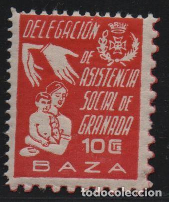 GRANADA, 10 CTS. -DELEG. ASISTENCIA SOCIAL, ALLEPUZ Nº 2, VER FOTO (Sellos - España - Guerra Civil - De 1.936 a 1.939 - Usados)