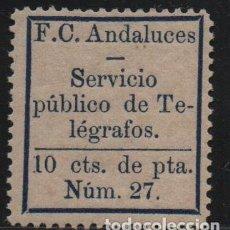 Francobolli: F.C. ANDALUCES, 10 CTS, SERVICIO PUBLICO DE TELEGRAFOS, AZUL, VER FOTO. Lote 143838402