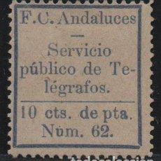 Francobolli: F.C. ANDALUCES, 10 CTS, SERVICIO PUBLICO DE TELEGRAFOS, AZUL CLARO, VER FOTO. Lote 143838454