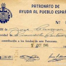 Sellos: ONO DEL PATRONATO DE AYUDA AL PUEBLO ESPAÑOL CON VALOR DE $50 EMITIDO EL 1 OCT. 1946. CUBA. Lote 144086154