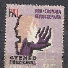 Sellos: 84-VIÑETA GUERRA CIVIL FAI ATENEO LIBERTARIO BARCELONA CULTURA REVOLUCIONARIA,SELLO REPUBLICANO 25 C. Lote 144146774