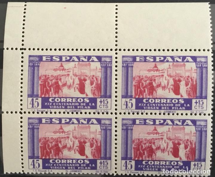 Sellos: 1940-ESPAÑA EDIFIL 889/903 MNH VIRGEN DEL PILAR - 889/03 BLOQUE DE 4 BORDE HOJA Y ESQUINA PLIEGO - Foto 12 - 144221574