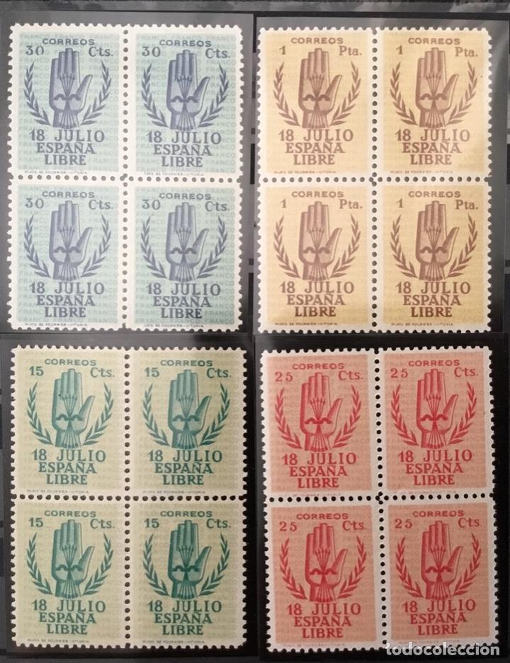 ESPAÑA 1938 - II ANIVERSARIO DEL ALZAMIENTO NACIONAL. BLOQUE DE 4. CERTIFICADO GRAUS EDIFIL 851/54** (Sellos - España - Guerra Civil - De 1.936 a 1.939 - Nuevos)