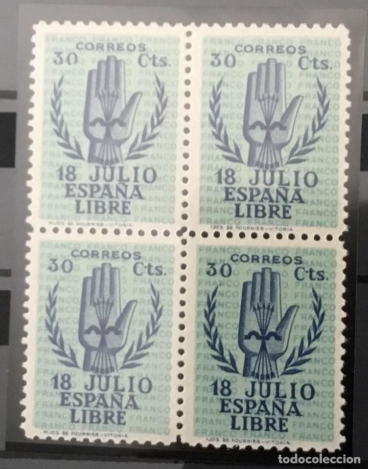 Sellos: España 1938 - II Aniversario del Alzamiento Nacional. Bloque de 4. Certificado Graus Edifil 851/54** - Foto 2 - 144280050