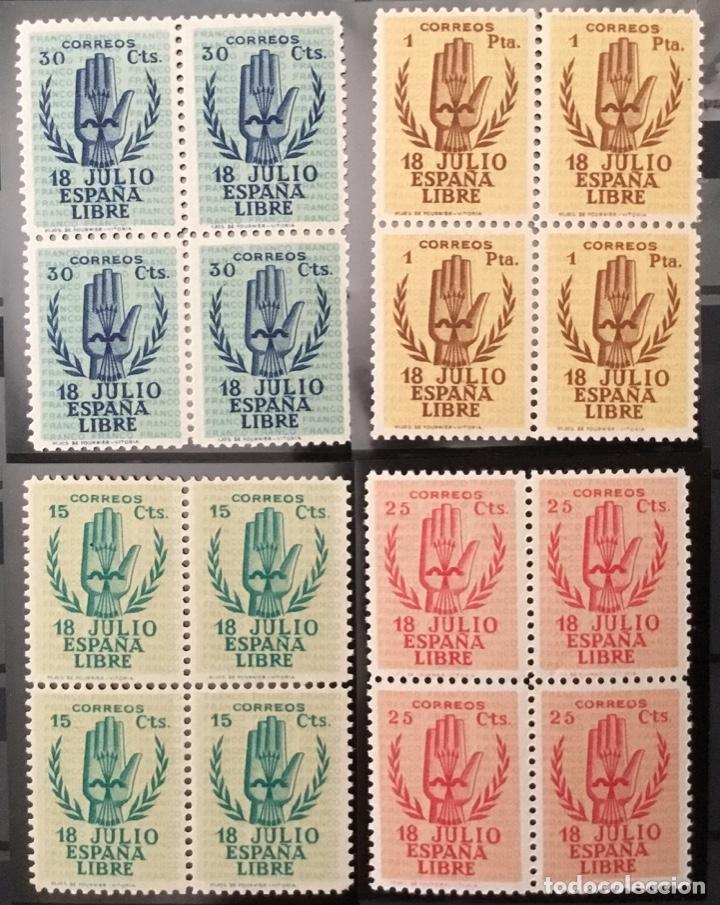 Sellos: España 1938 - II Aniversario del Alzamiento Nacional. Bloque de 4. Certificado Graus Edifil 851/54** - Foto 7 - 144280050