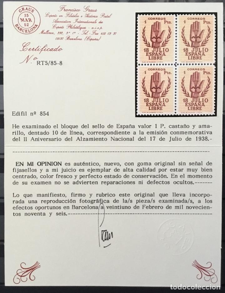 Sellos: España 1938 - II Aniversario del Alzamiento Nacional. Bloque de 4. Certificado Graus Edifil 851/54** - Foto 8 - 144280050