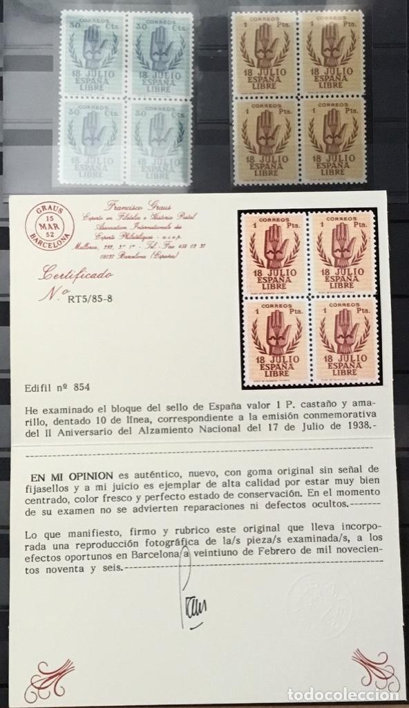 Sellos: España 1938 - II Aniversario del Alzamiento Nacional. Bloque de 4. Certificado Graus Edifil 851/54** - Foto 9 - 144280050
