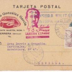 Timbres: F4-3-TARJETA POSTAL HERRERA (SEVILLA) 1939. FRANCO BISECTADO, TUBERCULOSOS Y CENSURA ESTEPA. Lote 258815740