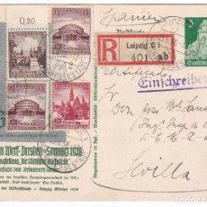 Sellos: F4-4- BONITO ENTERO POSTAL FRANQUEO COMPLEMENTARIO CERTIFICADO LEIPZIG-SEVILLA 1938. CENSURA . Lote 144669358