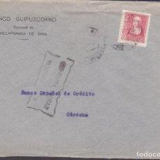 Sellos: F4-8- GUERRA CIVIL. CARTA VILLAFRANCA DE ORIA GUIPUZCOA 1939 . FRENTES Y HOSPITALES Y CENSURA . Lote 144670182