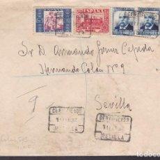 Sellos: F4-14- GUERRA CIVIL.CERTIFICADO MELILLA 1937. FRANQUEO MIXTO, BENÉFICO Y CENSURA . Lote 144670874