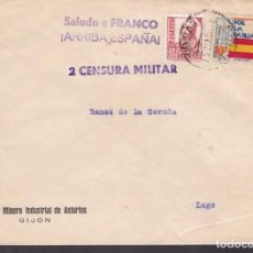 Sellos: F4-15- GUERRA CIVIL.CARTA BANCO MINERO ASTURIAS GIJÓN 1937 LOCAL Y CENSURA . Lote 144670950