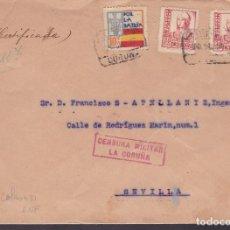 Sellos: F4-15- GUERRA CIVIL.CERTIFICADO CORUÑA 1937. FRENTES Y HOSPITALES Y CENSURA . Lote 144671042