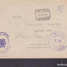 Sellos: F4-16- GUERRA CIVIL.CERTIFICADO SAN SEBASTIÁN 1939..FRANQUICIA ADMON PRAL CORREOS Y CENSURA . Lote 144671122