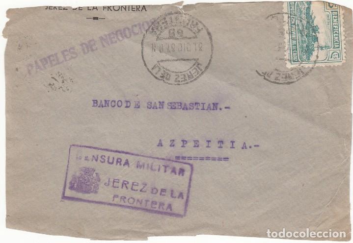 CARTA 1937: JEREZ DE LA FRONTERA - AZPEITIA ( CENSURA MILITAR ) (Sellos - España - Guerra Civil - De 1.936 a 1.939 - Cartas)
