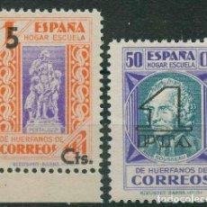 Sellos: ESPAÑA - BENEFICIENCIA 1938. EDIFIL 27/28** HUÉRFANOS CORREOS - TIPOS DIVERSOS - HABILITADOS. Lote 144695090