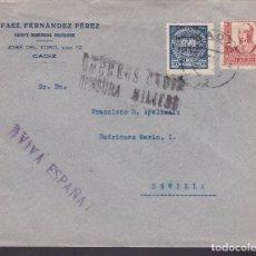 Sellos: F4-20- GUERRA CIVIL.CARTA CÁDIZ 1937. LOCAL 50 CTS Y CENSURA.. Lote 144781318