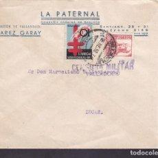 Francobolli: F4-13- GUERRA CIVIL.CARTA LA PATERNAL SEGUROS VALLADOLID 1938. TUBERCULOSOS Y CENSURA. Lote 144782294
