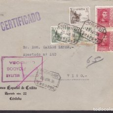 Sellos: F4-22- GUERRA CIVIL.CERTIFICADO CÓRDOBA 1938. LOCAL Y CENSURA CERTIFICADOS .. Lote 144783190