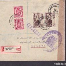 Sellos: F4-28- GUERRA CIVIL. CERTIFICADO BRUSELAS- MADRID 1940 . CENSURA Y FAJA . Lote 144787258
