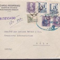 Sellos: F4-37- GUERRA CIVIL.CERTIFICADO AGENTE ADUANAS IRÚN (GUIPUZCOA)- SUIZA 1939. CENSURA Y FAJA. Lote 144793466