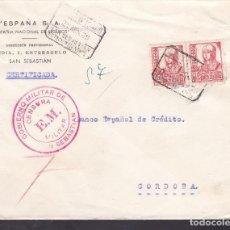 Sellos: F4-38- GUERRA CIVIL.CERTIFICADO SAN SEBASTIÁN 1938 . CRUZADA FRÍO Y CENSURA. Lote 144793986