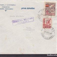 Sellos: F4-40- GUERRA CIVIL.CARTA FARMACIA PORRIÑO (PONTEVEDRA) 1937. LOCAL Y CENSURA . Lote 144795698