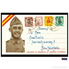 Sellos: ESPAÑA 1937 TARJETA POSTAL GUERRA CIVIL ALZAMIENTO NACIONAL FRANCO ¡ARRIBA ESPAÑA! PERFECTA CIRCULAD. Lote 54055987