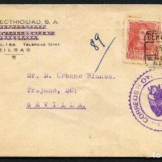 Sellos: GUERRA CIVIL, SOBRE PUBLICITARIO, AUTOBAT, AUTO ELECTRICIDAD, BILBAO, 1938. Lote 144819266