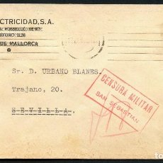 Sellos: GUERRA CIVIL, SOBRE PUBLICITARIO, AUTO ELECTRICIDAD, SAN SEBASTIAN, 193?. Lote 144823910