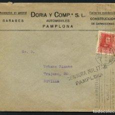 Sellos: GUERRA CIVIL, SOBRE PUBLICITARIO, AUTOMÓVILES PAMPLONA, PAMPLONA 1938. Lote 144827010