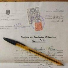Sellos: ABASTECIMIENTOS Y TRANSPORTES. TARJETA DE PRODUCTOR OLIVARERO. OBRAS SOCIALES, DIPUTACION DE JAEN.. Lote 145020898