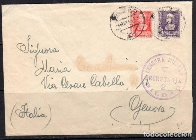 CARTA BILBAO 1938 CENSURA SECRETARIA 2 EN VIOLETA. RARA (Sellos - España - Guerra Civil - De 1.936 a 1.939 - Cartas)