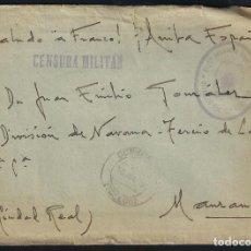 Sellos: GUERRA CIVIL. BANDO NACIONAL. CONSUEGRA (TOLEDO) 13-06-1939. REGIMIENTO DE ARGEL. CENSURA MILITAR. Lote 145136386