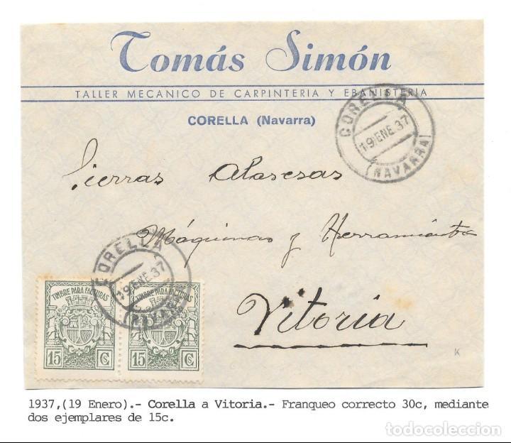 PAREJA TIMBRES PARA FACTURAS DE 15 CTS. FRONTAL DE CORELLA - NAVARRA A VITORIA.1937 (Sellos - España - Guerra Civil - De 1.936 a 1.939 - Cartas)