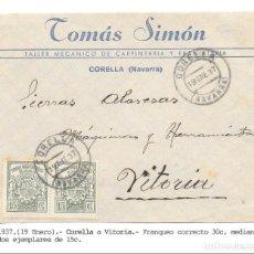 Sellos: PAREJA TIMBRES PARA FACTURAS DE 15 CTS. FRONTAL DE CORELLA - NAVARRA A VITORIA.1937. Lote 145169070