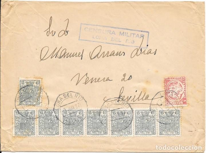 8 TIMBRES ESPECIAL MOVIL DE 15 CTS. SOBRE DE LORA DEL RIO A SEVILLA.1937 (Sellos - España - Guerra Civil - De 1.936 a 1.939 - Cartas)