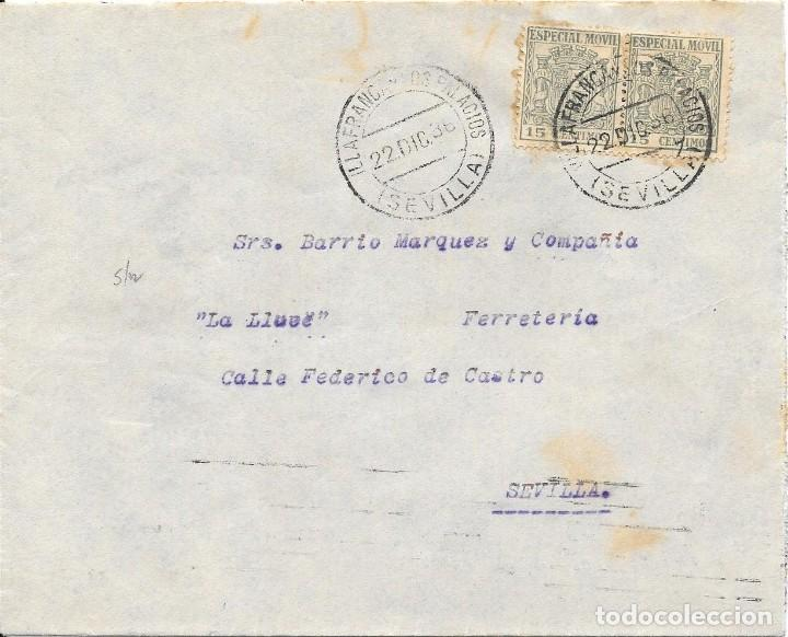 GUERRA CIVIL. PAREJA ESPECIAL MOVIL 15 CTS. DE VILLAFRANCA DE PALACIOS A SEVILLA. 1936 (Sellos - España - Guerra Civil - De 1.936 a 1.939 - Cartas)