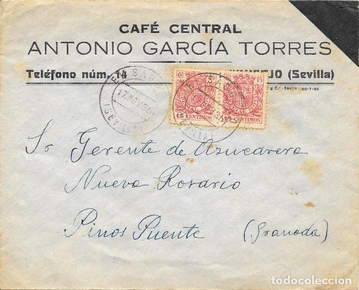 GUERRA CIVIL. PAREJA ESPECIAL MOVIL DE 15 CTS. DE EL SAUCEJO A PINOS PUENTE. 1936 (Sellos - España - Guerra Civil - De 1.936 a 1.939 - Cartas)